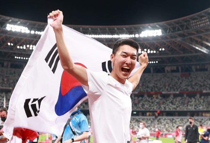 우상혁이 1일 오후 일본 도쿄 국립경기장에서 열린 2020도쿄올림픽 육상 남자 높이뛰기 결선에서 2m35의 기록으로 4위를 차지했다. /사진=뉴스1