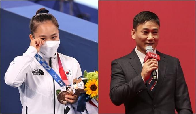 여서정(왼쪽)이 지난 1일 열린 2020도쿄올림픽 여자체조 도마에서 동메달을 획득했다. 이로써 한국 여자체조 역사상 첫 올림픽 메달리스트이자 아버지인 전 기계체조 선수 여홍철과 함께 최초의 부녀 올림픽 메달리스트가 됐다. /사진=뉴스1, 뉴시스