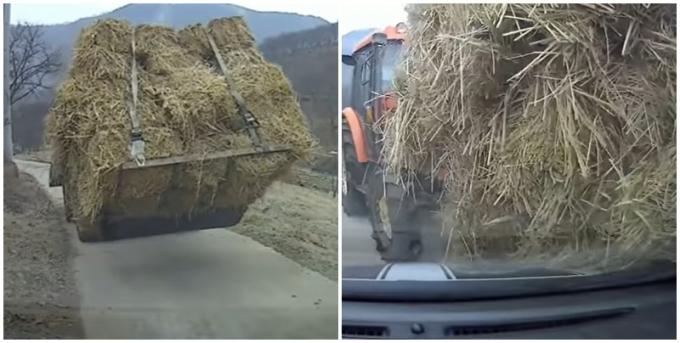지난 2일 유튜브 '한문철 TV'에 지푸라기를 실은 트랙터가 멈추지 않아 사고가 일어난 영상이 올라왔다. 사진은 해당 트랙터가 차량으로 다가오는 모습. /사진=유튜브 캡처