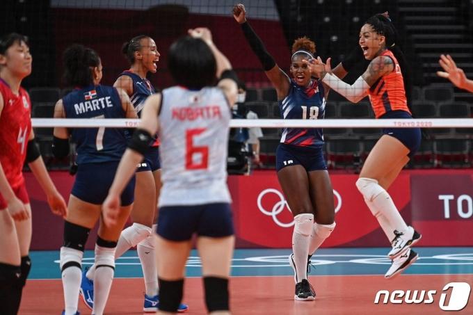 도미니카 공화국이 일본을 꺾고 2020 도쿄 올림픽 여자 배구 8강전에 진출했다. © AFP=뉴스1