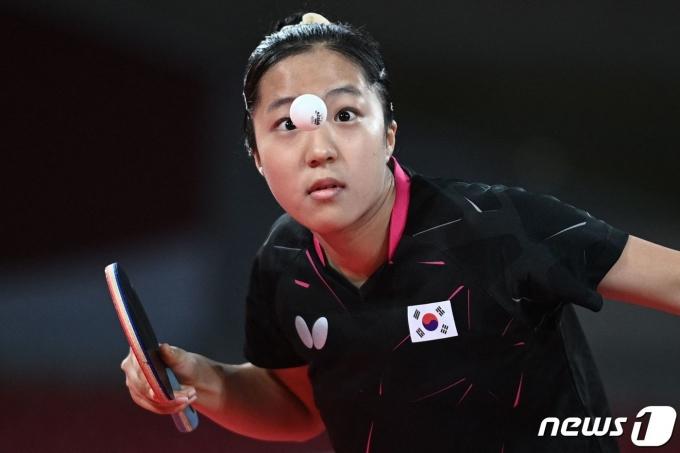 여자 탁구 대표팀의 신유빈.  © AFP=뉴스1