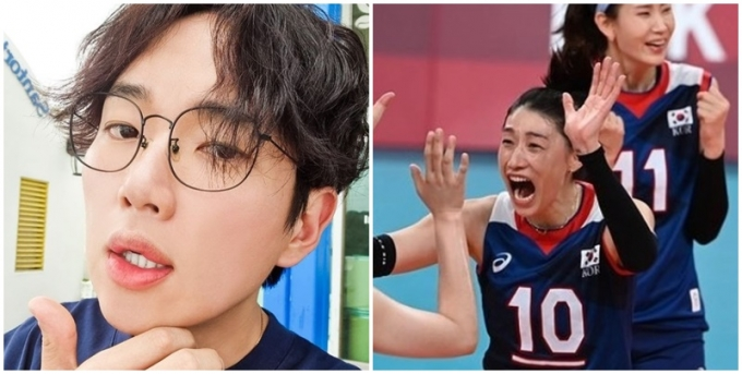 4일 장성규(사진 왼쪽)가 2020도쿄올림픽 4강에 진출한 여자 대표팀에 축하 메시지를 보냈다. /사진=장성규 인스타그램 캡처
