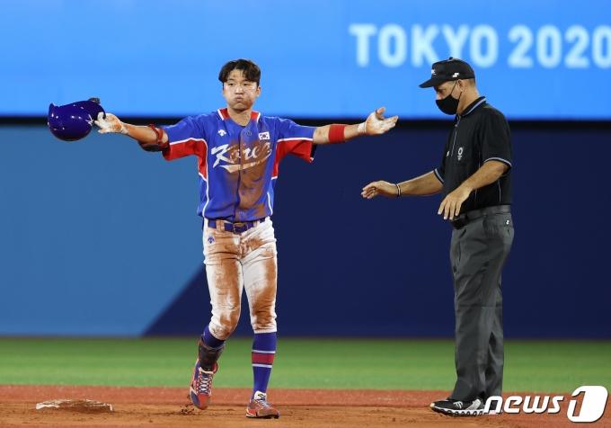 [사진] 박해민 '2루타의 기쁨'