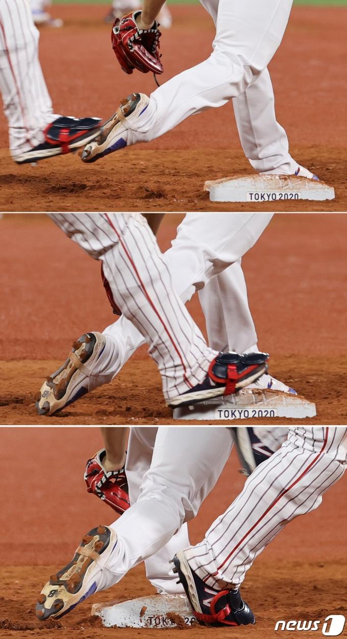 [사진] 베이스 밟지 못한 고우석의 발