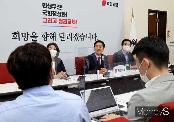 [머니S포토] 김기현 원내대표, 취임 100일 기자회견