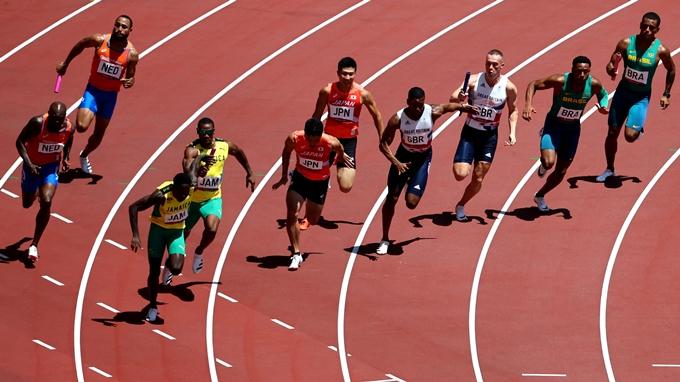 5일 미국 육상 남자 400m 계주팀이 2020도쿄올림픽에서 예선 탈락했다. 사진은 이날 예선 경기를 치르는 선수 모습. /사진=로이터 통신