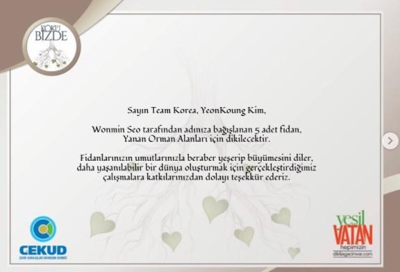 최근 대한민국 국민이 터키 산불 피해를 돕기 위해 '김연경' 이름으로 묘목을 기부하며 감동을 줬다. /사진=인스타그램 캡처
