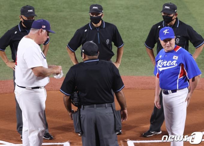 [사진] 한국 야구, 미국과 패자 준결승전