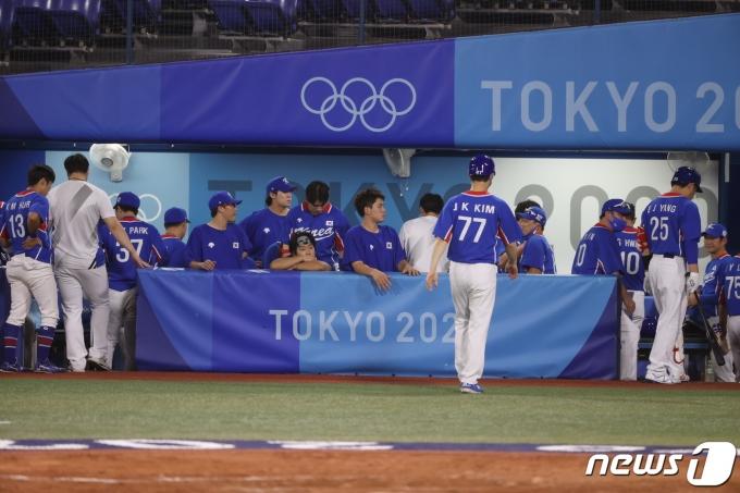 [사진] 미국에 패한 야구 대표팀, 동메달 결정전으로