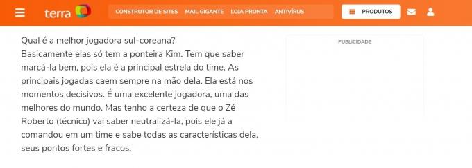지난 5일 브라질 매체 'terra'가 김연경을 집중 조명했다. /사진=브라질 매체 terra 홈페이지