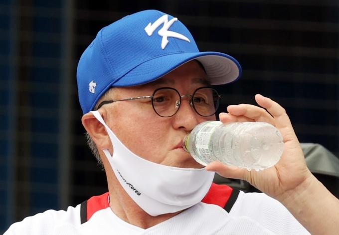 한국 야구 대표팀이 올림픽 노메달로 대회를 마쳤다. 사진은 대표팀을 이끈 김경문 감독. /사진=뉴시스