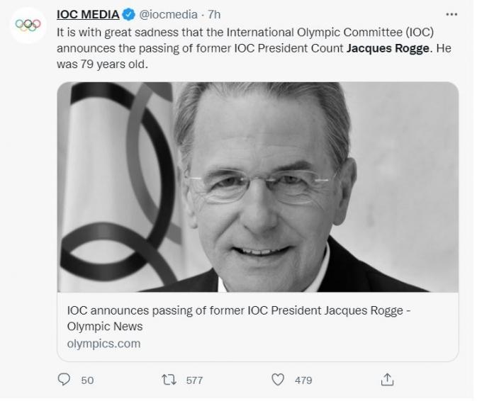 국제올림픽위원회(IOC)는 트위터를 통해 지난 29일(현지시각) 자크 로게 전 IOC 위원장의 사망소식을 전했다. /사진= IOC 트위터
