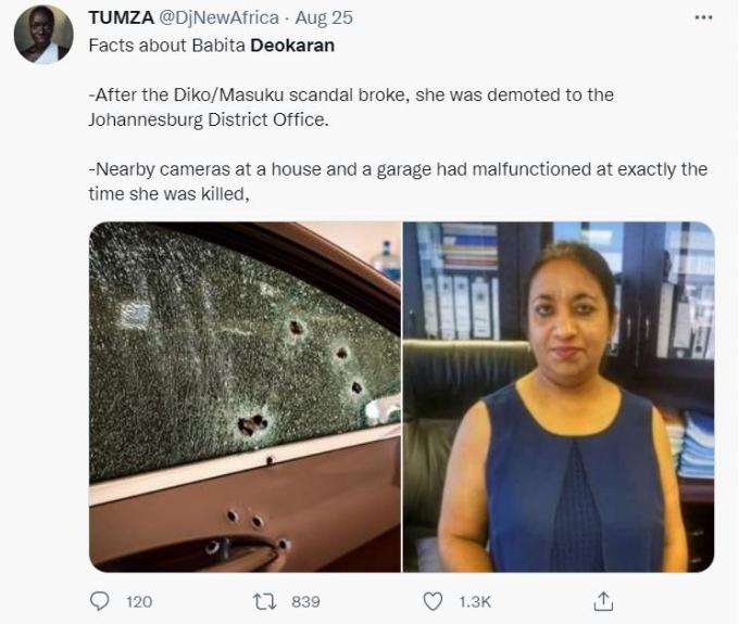 남아프리카공화국의 수도권인 하우텡주 보건부의 금융회계 담당국장인 바비타 데오카란이 지난 23일 오전 신종 코로나바이러스 감염증(코로나19) 관련 부패를 고발한 뒤 피살됐다. 사진은 트위터에 데오카란의 사망 소식을 알린 게시물. /사진=Tumza 트위터