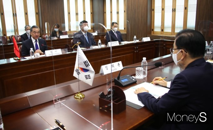 [머니S포토] 한-중 외교장관회담서 발언하는 왕이 외교부장