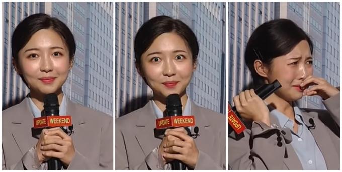 지난 11일 'SNL 코리아'에 등장한 주현영이 긴장감을 감추지 못하는 인턴기자 역을 맡아 화제에 올랐다. 그의 연기에 많은 이들이 찬사를 보냈다. /사진=유튜브 캡처