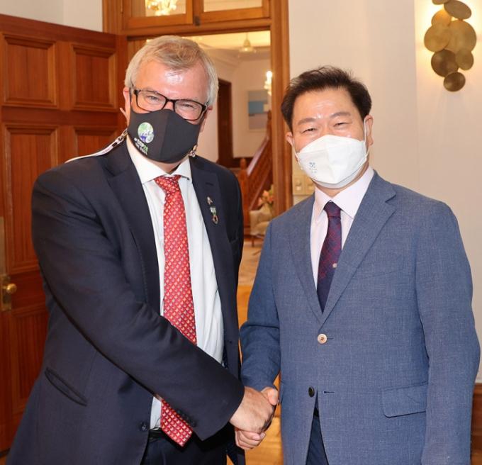 박승원 시장, 기후변화 대응 선도 지방정부 간담회 참석. / 사진제공=광명시