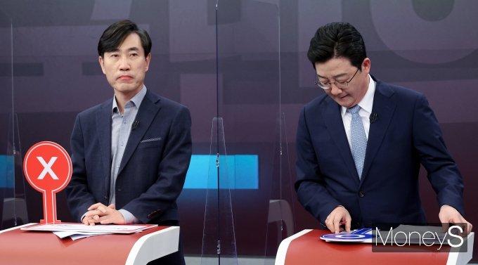 [머니S포토] TV 토론 참석한 하태경·유승민 예비후보
