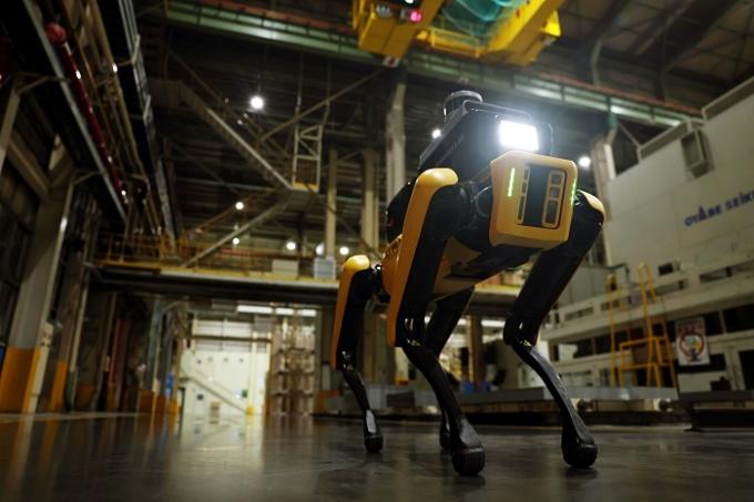 현대자동차그룹이 산업현장 안전을 챙기기 위해 '로봇'을 활용한다. 사진은 4족 보행 로봇 스팟. /사진제공=현대차그룹