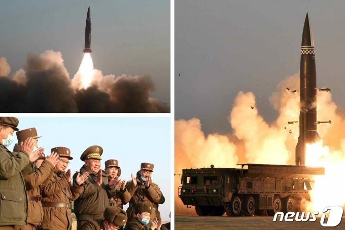 (평양 노동신문=뉴스1) = 북한이 지난 3월25일  '신형 전술유도탄'을 시험발사했다. [국내에서만 사용가능. 재배포 금지. DB 금지. For Use Only in the Republic of Korea. Redistribution Prohibited] rodongphoto@news1.kr