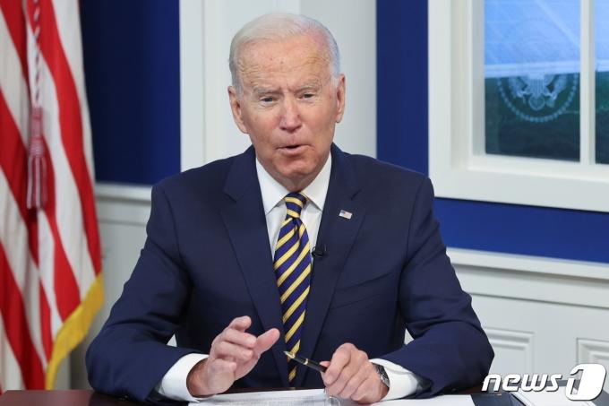조 바이든 미국 대통령이 2021년 9월 17일(현지시간) 미국 워싱턴 백악관 대강당에서 열린 기후변화 주요경제포럼(MEF) 회의에 참석하고 있다. © 로이터=뉴스1 © News1 김현 특파원