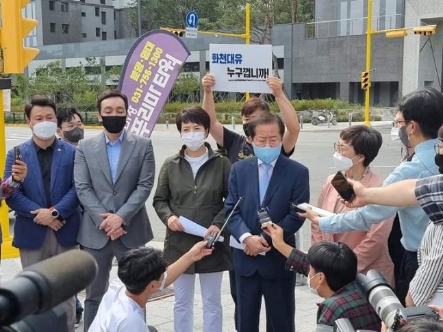 """대장동 찾은 홍준표, 이재명 저격… """"관련 됐으면 감옥 가야"""""""