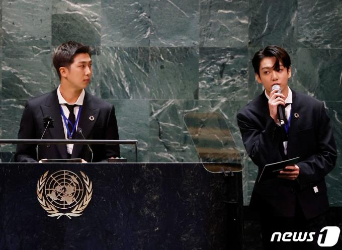 [사진] SDG Moment 개회식 발언하는 BTS