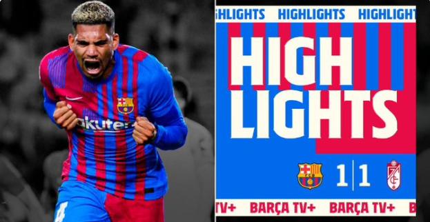 바르셀로나는 21일 오전(한국시각) 스페인 바르셀로나의 캄프 누에서 열린 그라나다와의 2021-22시즌 프리메라리가 5라운드 홈경기에서  1-1 무승부를 기록했다. /사진=바르셀로나 트위터