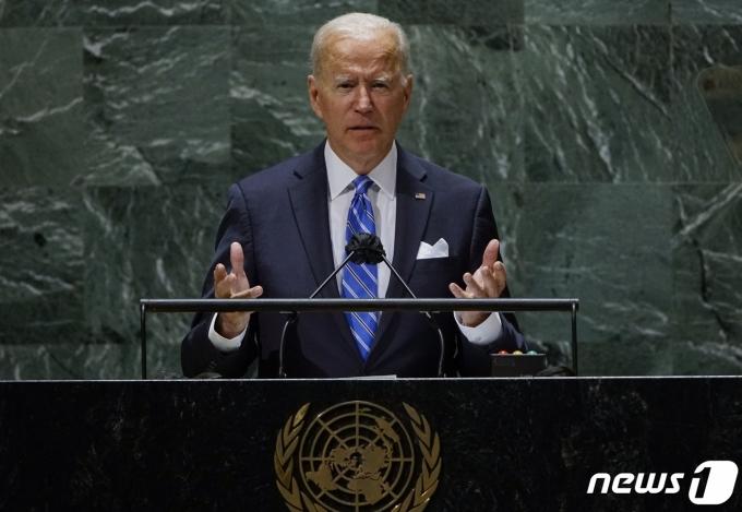조 바이든 미국 대통령이 21일 유엔총회 연설에서 발언하고 있다. © AFP=뉴스1