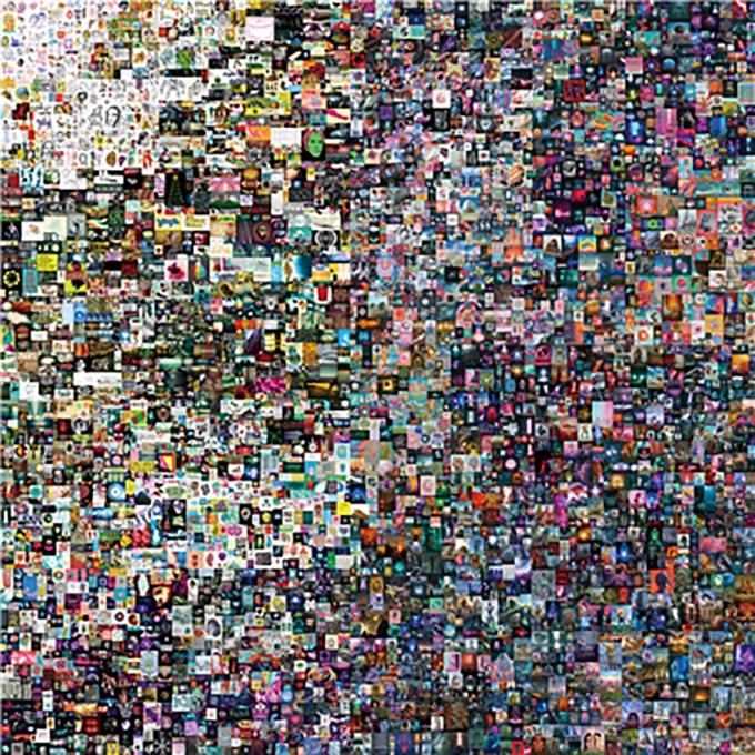 지난 3월11일 크리스티 경매에서 6930만 달러(약 785억원)에 낙찰된 비플의 NFT 작품 '매일 첫 5000일_(Everydays The First 5000 days)' 이미지./사진=makersplace