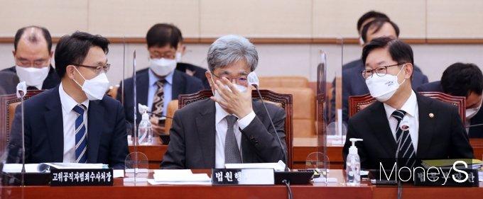 [머니S포토] 국회 법사위 출석한 김진욱·김상환·박범계