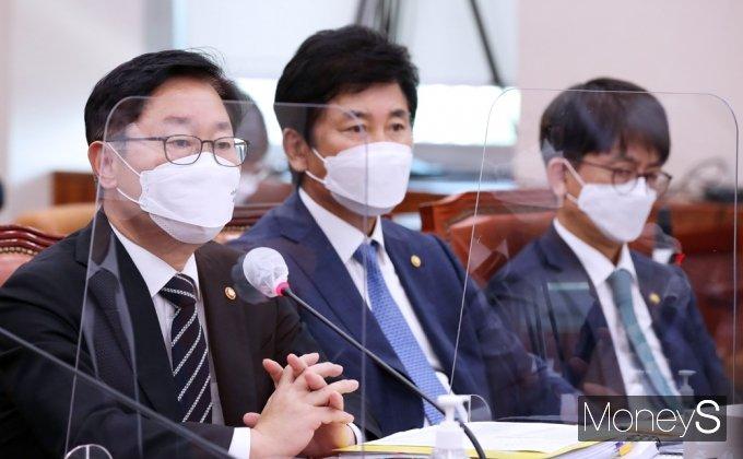 """[머니S포토] 국회 법사위 박범계 """"대장동 개발 의혹, 신속 조사에 동의"""""""