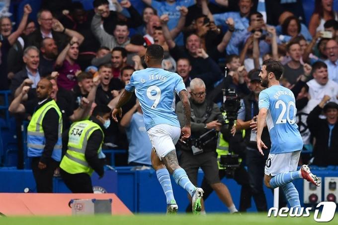 첼시를 상대로 결승골을 터트린 가브리엘 제주스. © AFP=뉴스1