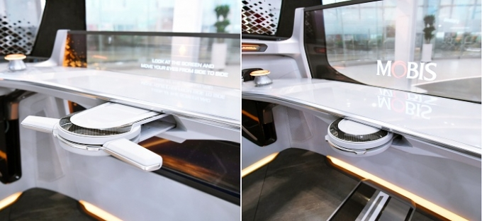 현대모비스가 차 운전석의 운전대를 필요에 따라 접어서 보이지 않게 수납할 수 있는 '폴더블 조향 시스템' 기술을 개발했다. /사진제공=현대모비스