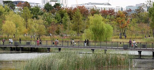 오는 14일은 전국이 가끔 구름이 많고 일교차가 큰 날씨가 이어질 것으로 보인다. 사진은 한글날 연휴 마지막날인 지난11일 오후 서울 강서구 서울식물원을 찾은 시민들이 선선해진 가을 날씨를 만끽하는 모습. /사진=뉴스1