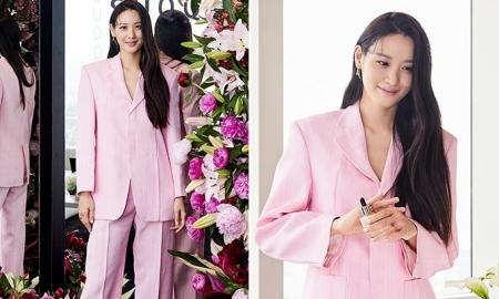 수현, 화사한 핑크빛 슈트…늘씬한 실루엣 '감탄'