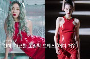 선미 vs 모델, MV 속 '256만원' 매끈한 밀착 드레스…어디 거?