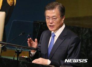 """""""김정은 속임수 아냐"""" """"레이건처럼""""…다시보는 文 유엔 연설"""