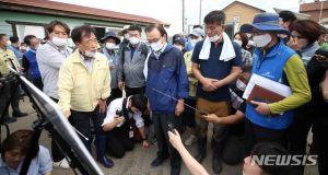 지지율 뒤집힌 날…與, 민통선 인근 수해지역 '구슬땀'