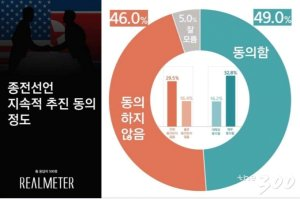 종전선언 지속 추진 찬성 49%vs반대46% '팽팽'