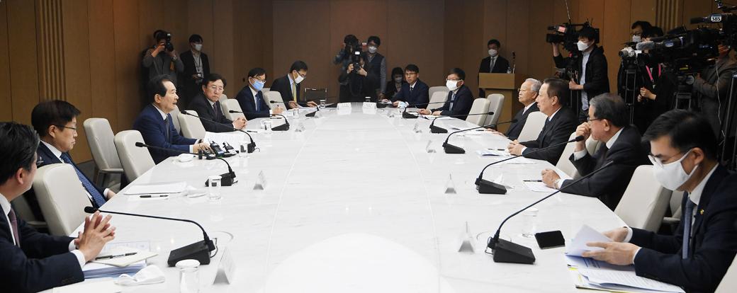 정세균 총리, 금융권 이어 경제단체 만나 '코로나 극복' 논의