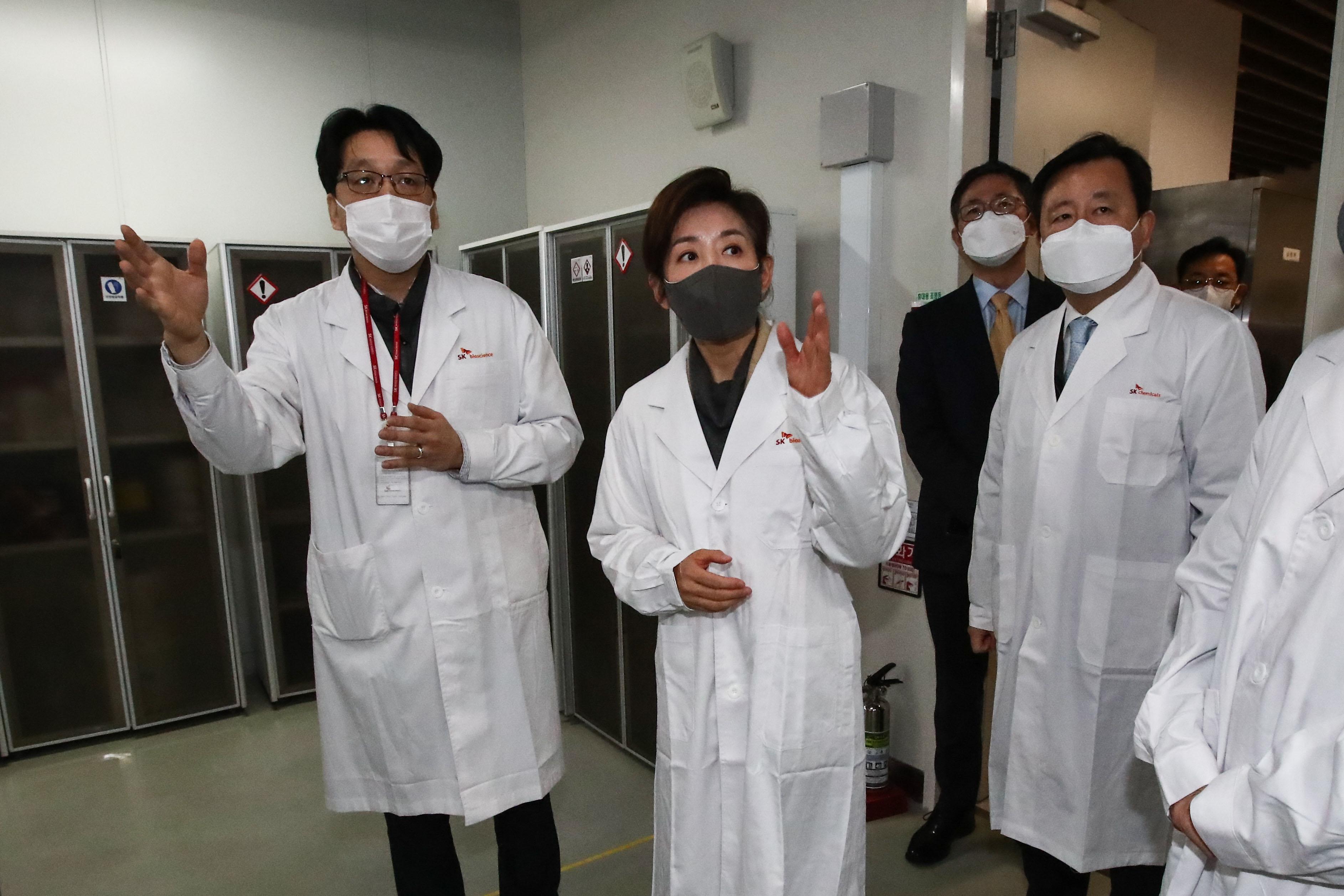 나경원 'K백신 개발 응원' SK바이오사이언스 방문