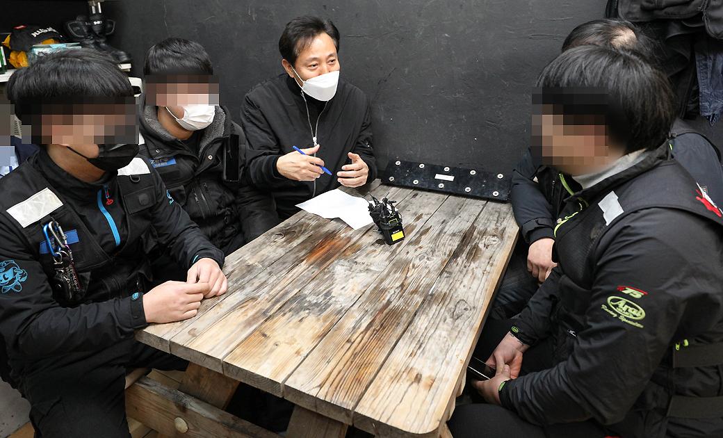 4.7 재보궐, 배달라이더 찾은 '오세훈' 고충 청취
