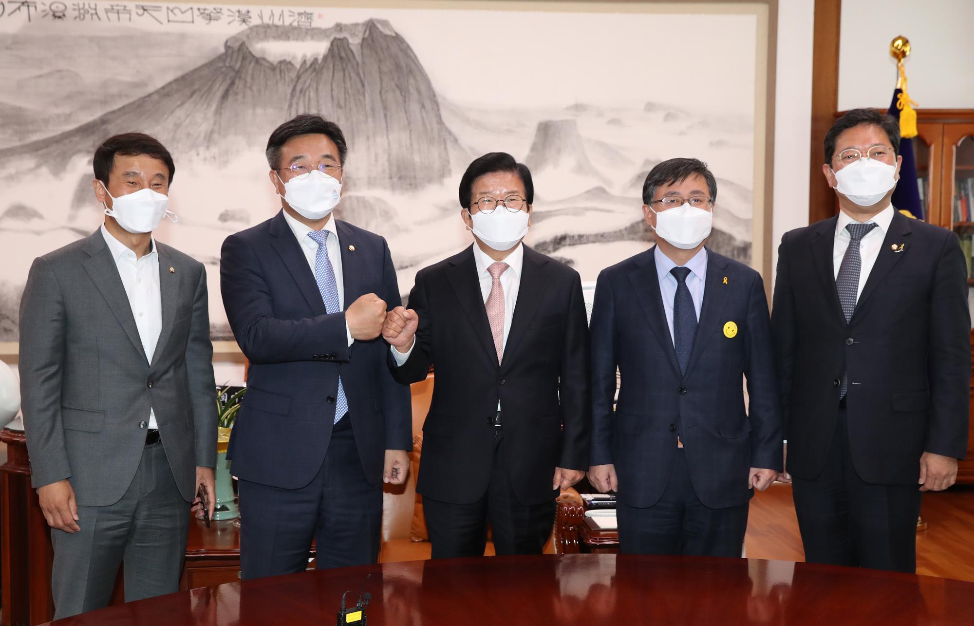 민주당 신임 원내지도부 박병석 국회의장 예방