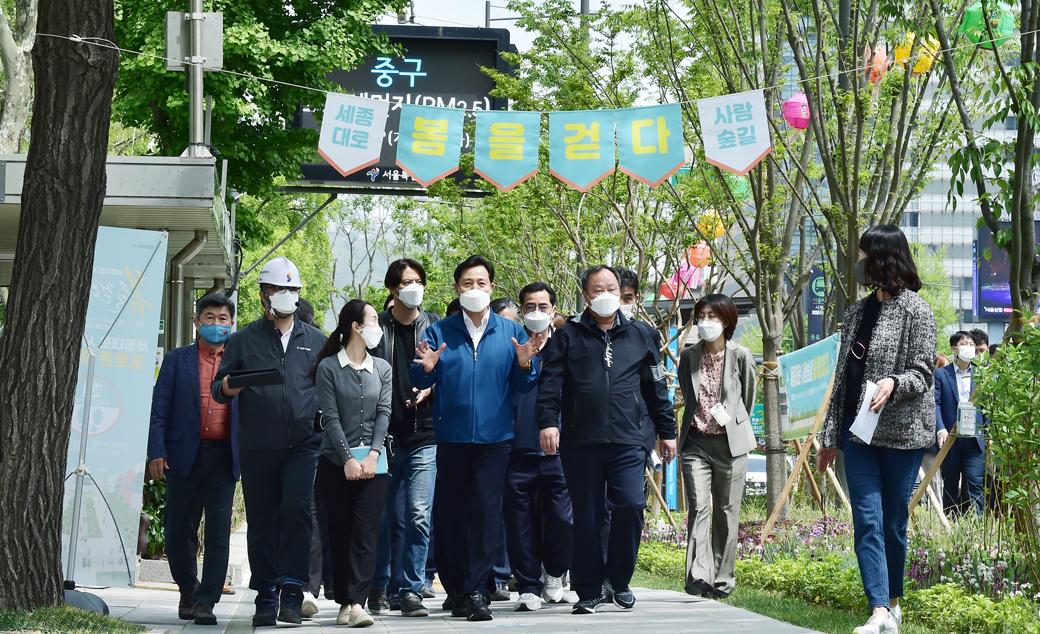 서울시, 차로 줄인 세종로 '숲+사람' 공존 보행로 재탄생